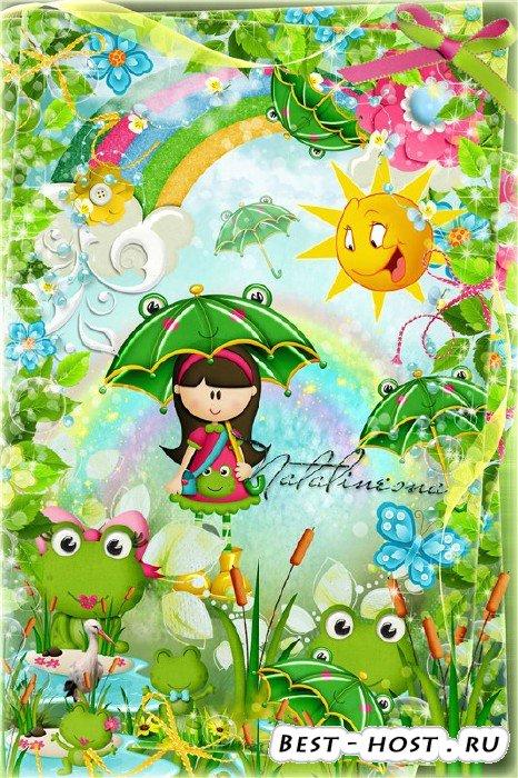 Детская рамочка с лягушатами – Мы семейка лягушат, мама, папа, я и  брат …