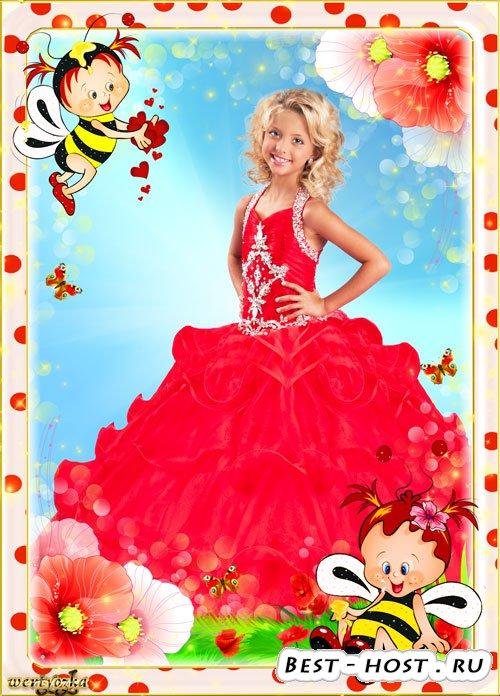 Детская рамка для фото - Романтические пчелки в красных маках
