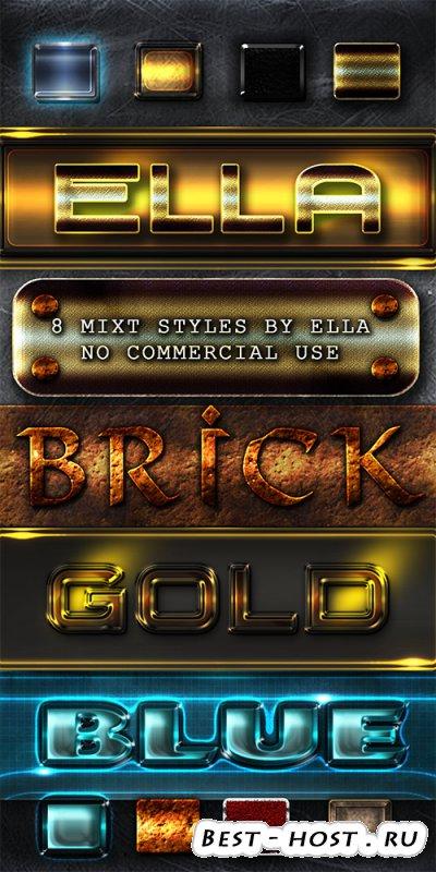 Микс стили оформление шрифта для дизайна букв в программе  Photoshop