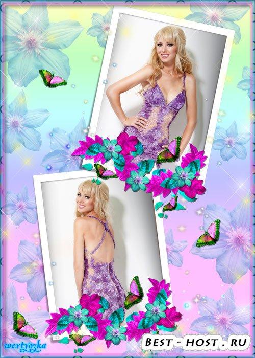 Цветочная рамка для двух фото - Чувственные цветы клематис