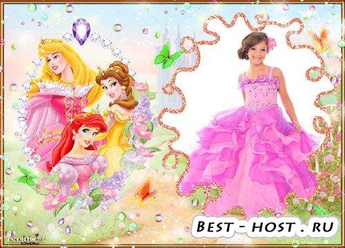 Детская psd рамка - Сказочные принцессы