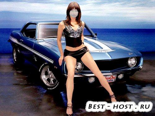 Шаблон для фотошопа - девушка на море с машиной