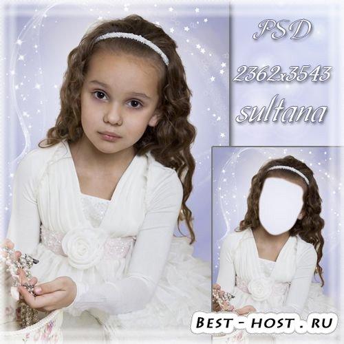 Шаблон для фотошопа - Девочка со шкатулкой