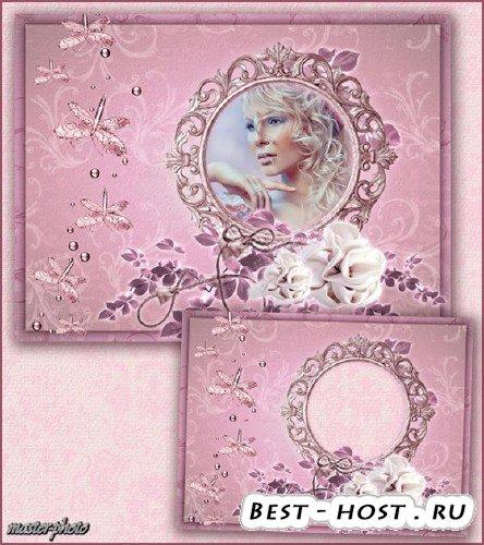 Женская рамка для фотошопа – Легкое порхание бабочек