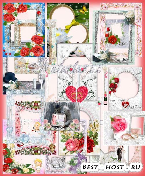 Рамки для свадебных фото - Поцелуй твой нежен, сердце тихо тает