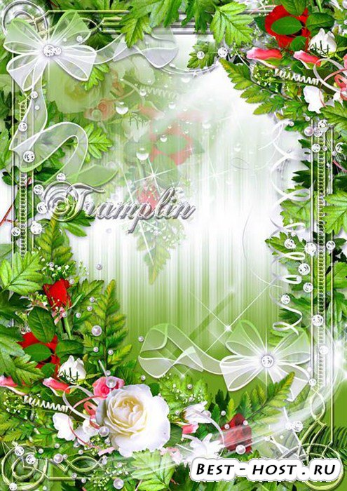 Рамка с цветами – Лепестки его - краса, В них сияют небеса