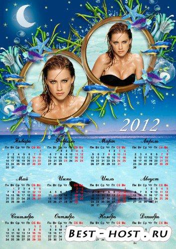 Календарь на 2012 год - Звезды и дельфин