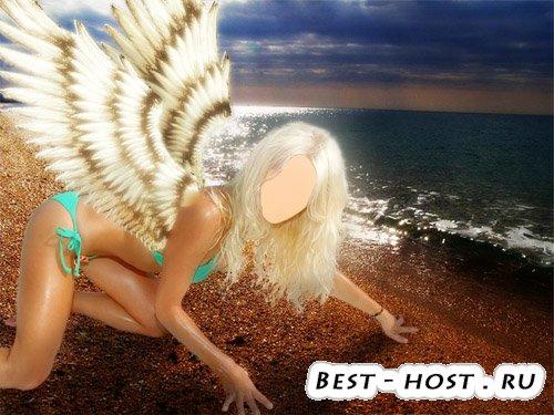 PSD исходник - Девушка с крыльями