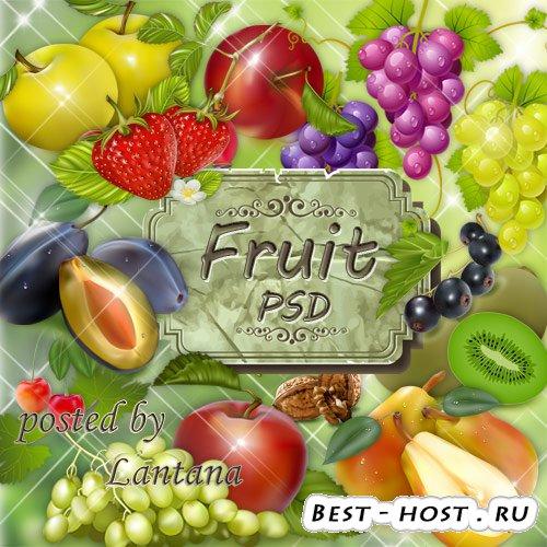 Клипарт для фотошопа - Фрукты и фруктовые композиции
