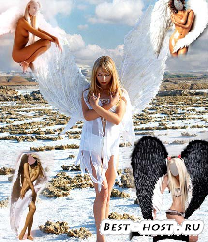 4 шаблона для фотошоп - ангелы