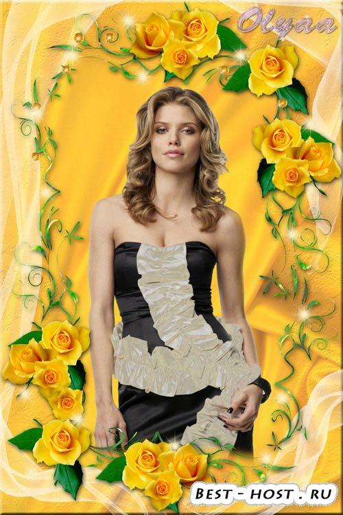 Многослойная рамка для фотошоп - Очаровательные желтые розы