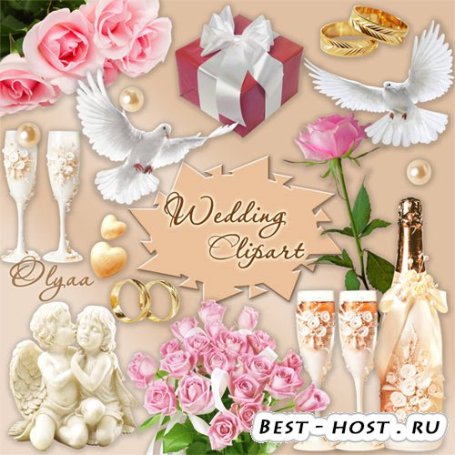 Свадебный клипарт - голуби, розы, шампанское, бокалы, ангелочки