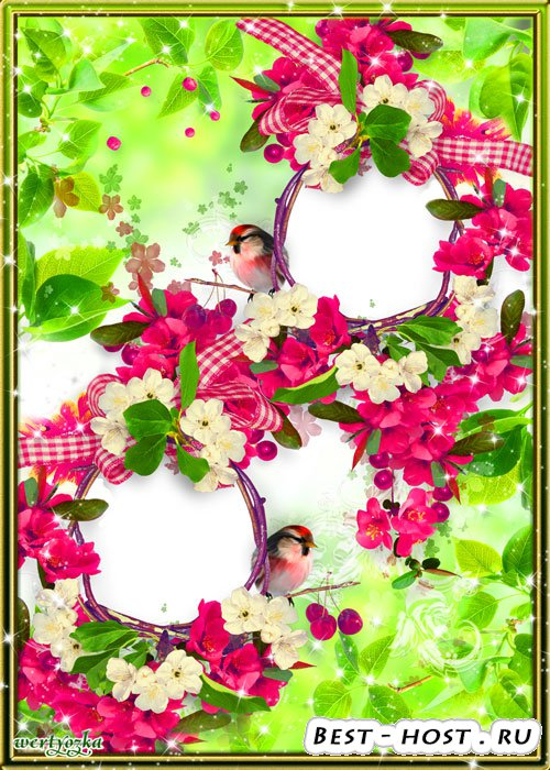 Рамка для двух фото - Милые синички среди изящных малиновых цветочков