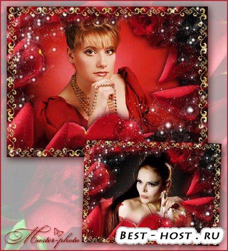 Женская рамка для фотошопа - Сияние роз