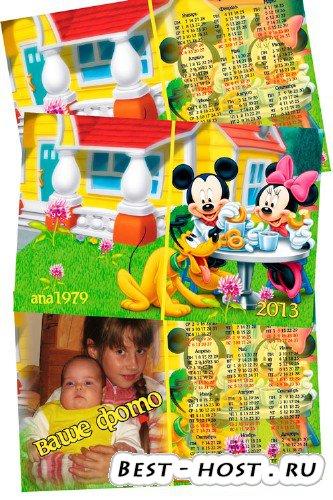 Календарь для фотошопа - Микки Маус и друзья