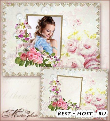 Женская рамка для фотошопа - Жемчужинки девичьих надежд
