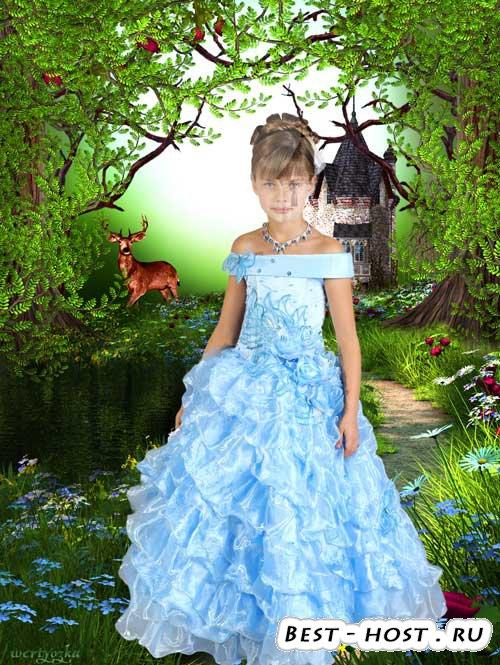 Детский шаблон для девочки - В нарядном голубом платье на фоне чудесной при ...