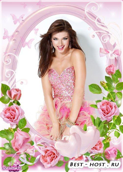 Многослойная цветочная psd рамка - Два сердца в нежно-розовых розах