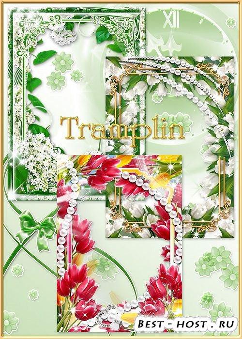 3 цветочные рамки для фото – Тюльпаны и сирень