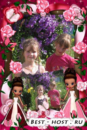 Рамка для фотошопа - Розы для красавицы