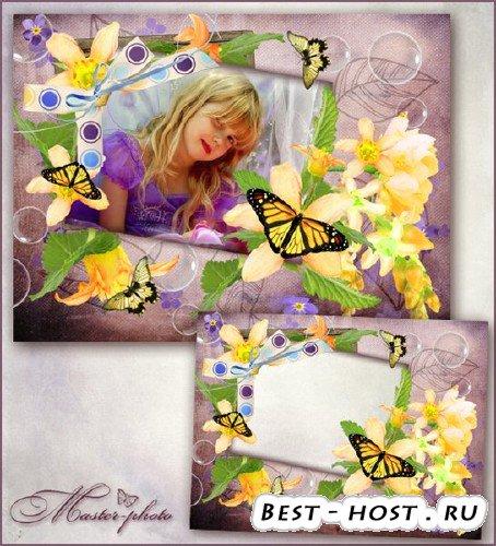 Летняя рамка для фотошопа с цветами и бабочками - В полете