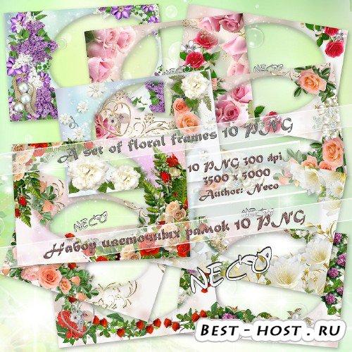 Набор красивых цветочных рамок - 10 штук в формате PNG