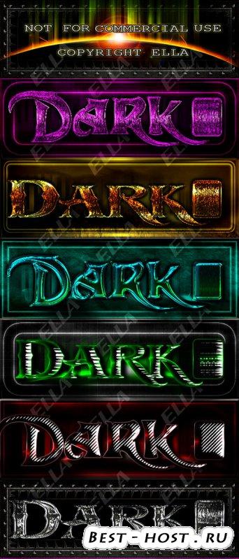 Темные текстовые стили для дизайна в программе Photoshop
