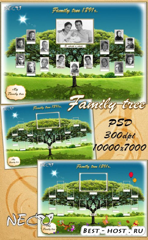 Шаблон - Генеалогическое (семейное) древо / Template a family tree PSD