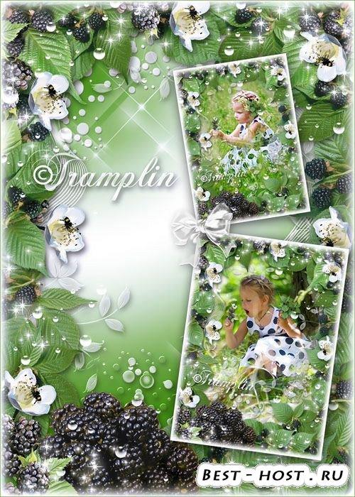 Летняя ягодная рамка для фото с ежевикой – Её сизые бока – Как густые облак ...