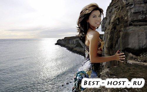 Шаблон для фотомонтажа - девушка у моря
