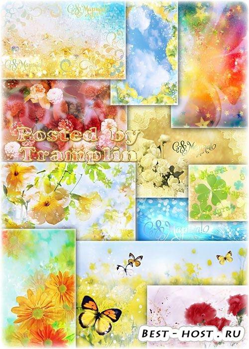 Разноцветные нежные фоны с цветами