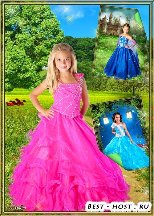 Шаблоны для фотошопа - Детские нарядные платья для девочек