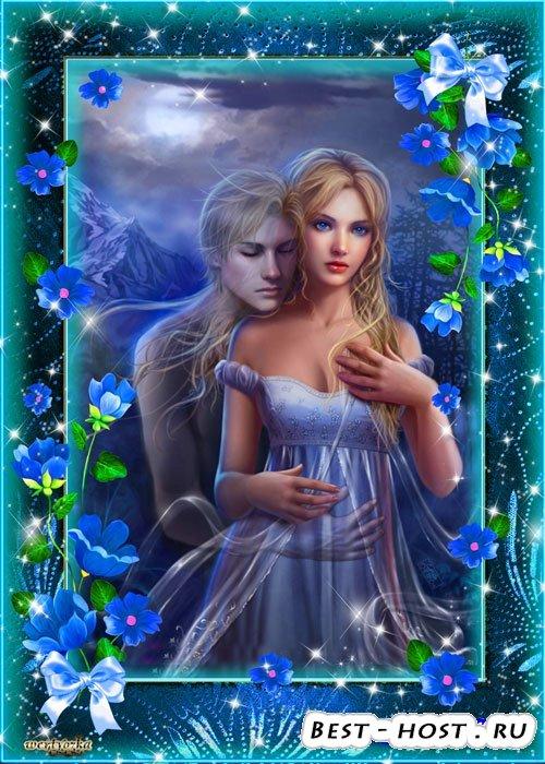 Рамка для фотошопа - Таинственные и манящие синие цветы