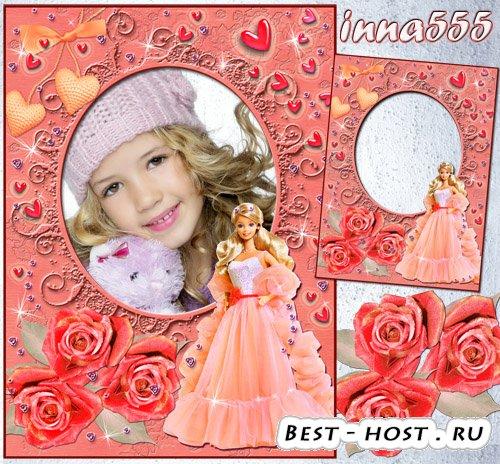Рамка для девочки – Барби с красивыми розами