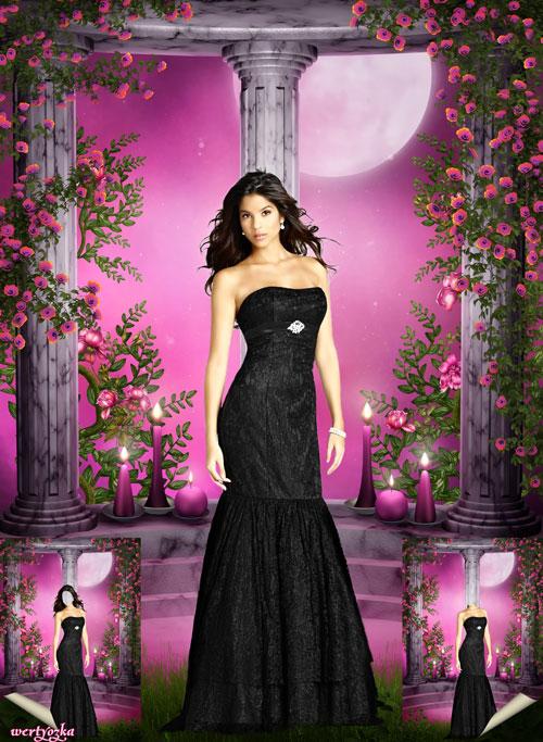 Женский шаблон - Девушка в черном платье