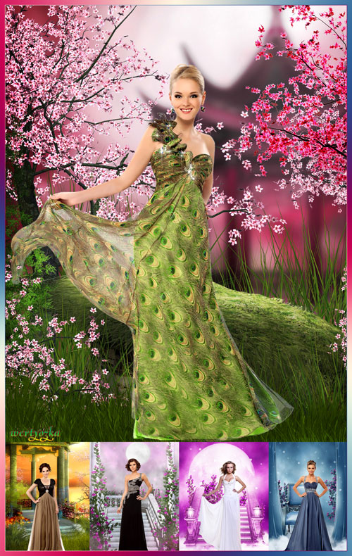 Женские шаблоны для фотошопа - Роскошные платья