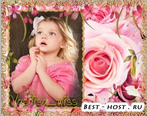 Красивая летняя фоторамочка с розами и лепестками нежных цветов