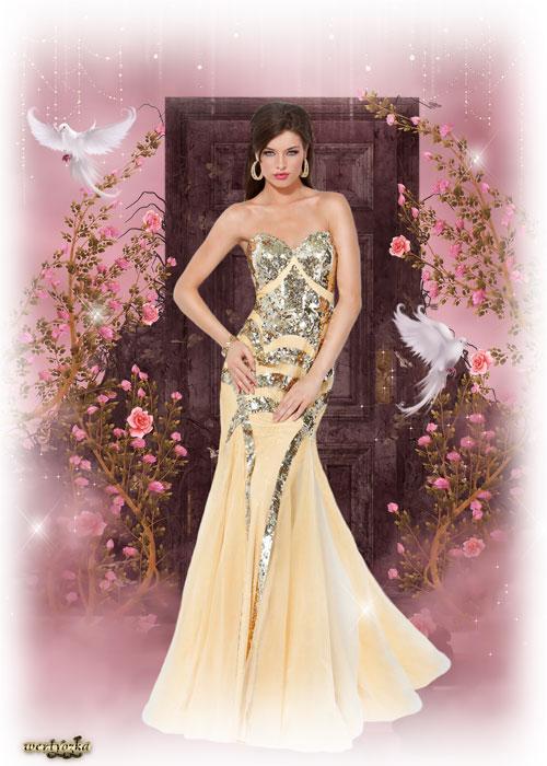Женский шаблон для фотошопа - В золотисто-кремовом платье