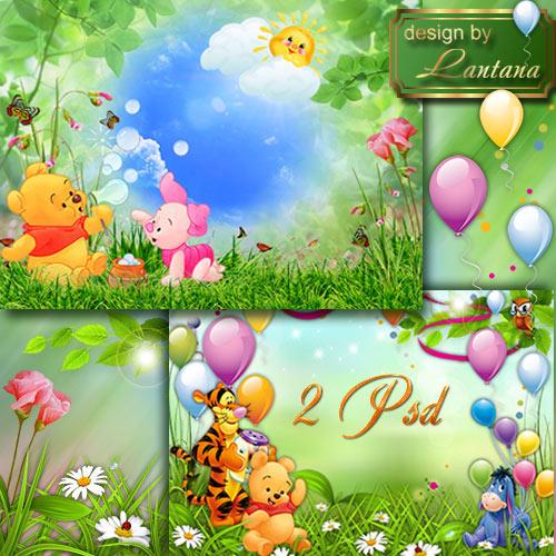 Детские многослойные фоны - Веселый Винни-Пух и компания