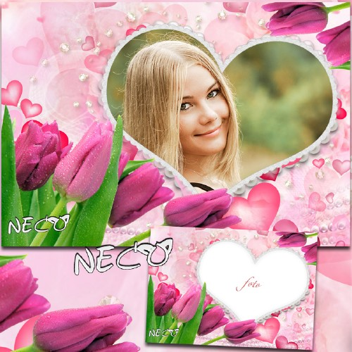 Цветочная рамка с розовыми тюльпанами - Весенняя улыбка