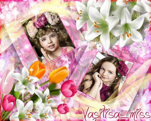 Очень красивая рамочка для фотошопа с букетом лилий и тюльпанами