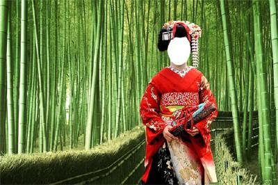 Шаблон Японская девушка в бамбуковой роще