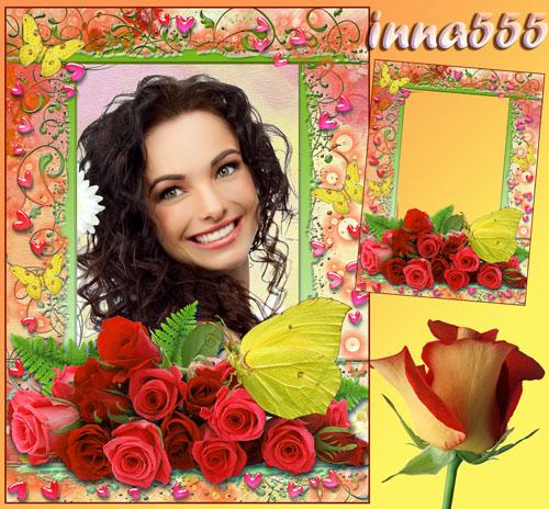 Яркая рамочка в подарок любимой девушке – Букет прекрасных роз и бабочка