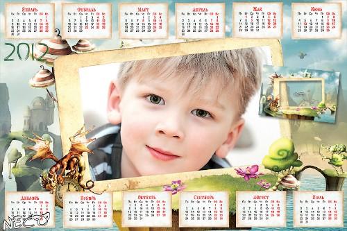 Детский календарь 2012 с вырезом для фото - Остров Дракона
