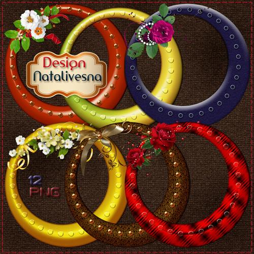 Цветные  рамки – вырезы с цветами и золотой вставкой
