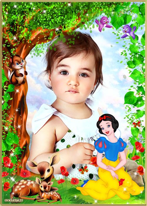 Детская рамка для фотошопа - Принцесса Белоснежка