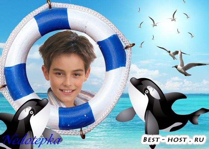 Детская рамочка с дельфинами