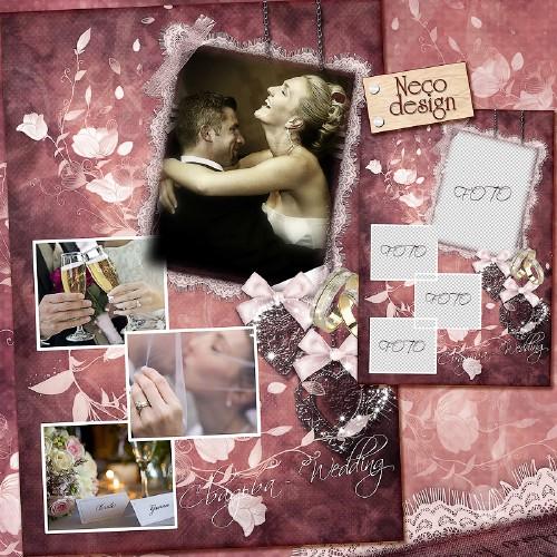 Свадебная рамка коллаж на четыре фотографии в винтажном стиле