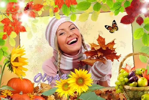 Рамка для фотошоп – Цветная осень
