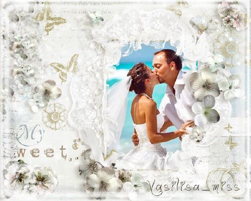 Ажурная свадебная фоторамочка с нежными цветами для самой сладкой невесты н ...